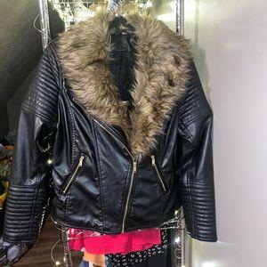 Black faux leather jacket with faux fur